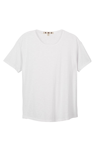 Scoop Neck Tee <br> White Slub