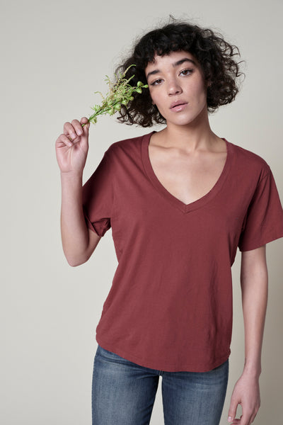 V-Neck Tee <br> Rust