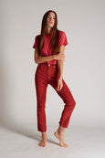 Chloe Crop Cord <br> Washed Red