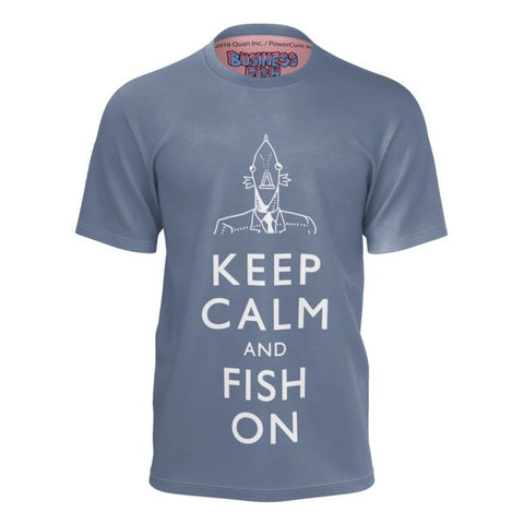 Keep Calm and Fish On Business Fish Shirt front