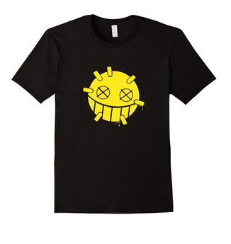 Overwatch Junkrat Smiley Spray Tee Shirt Large Black