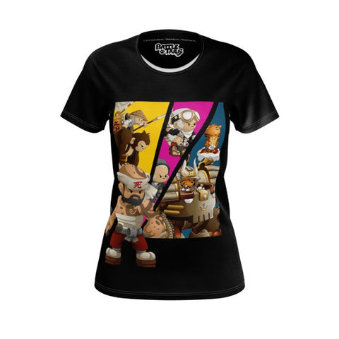 Women's Fit Huck Gee Comic Battle Tails Shirt front