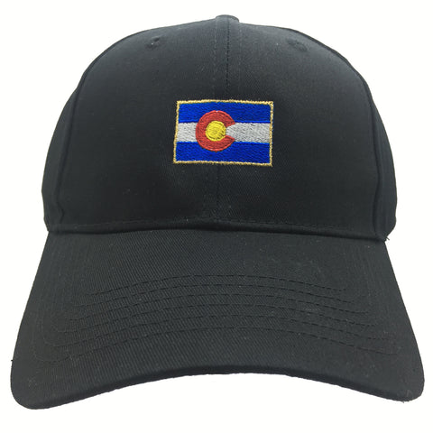 Classic Colorado Flag Hat Black Gold Trim