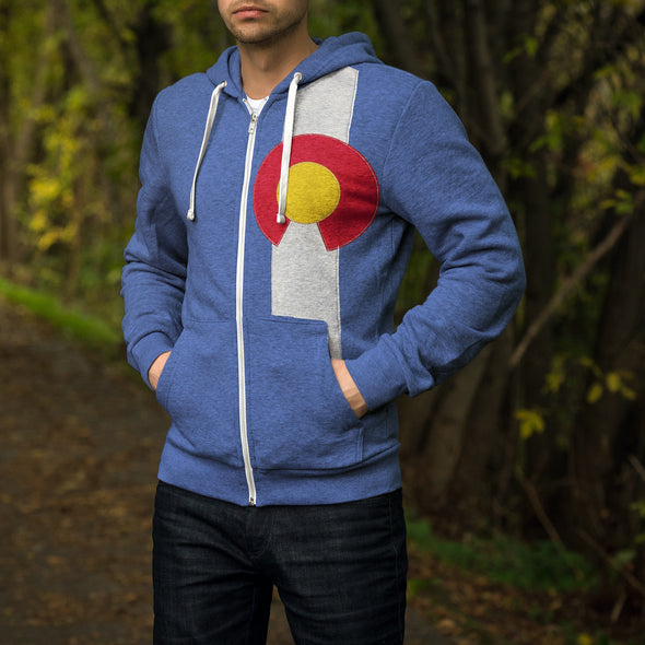 Men's Full Zip Colorado Flag Hoodie