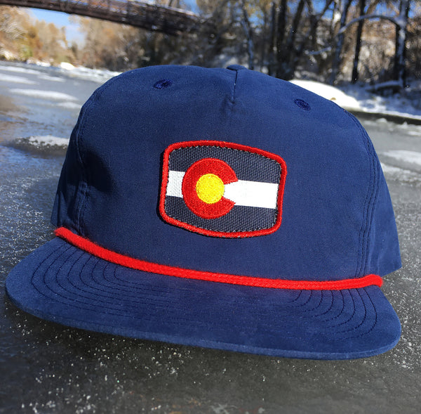 Red and Navy Colorado Flag Hat Rope Bill Classic Colorado Fishing Hat
