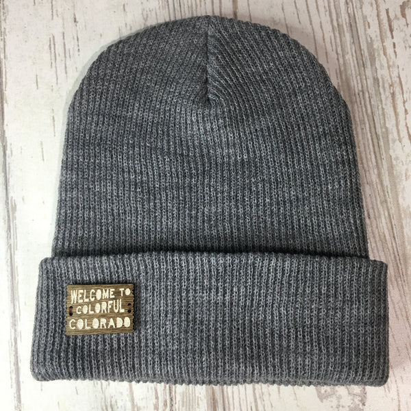 Wood Patch Beanie Colorado Winter Hat Welcome to Colorful Colorado Grey