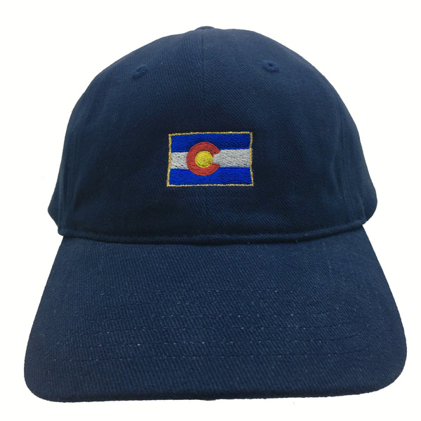 Classic Colorado Flag Hat Navy Gold Trim