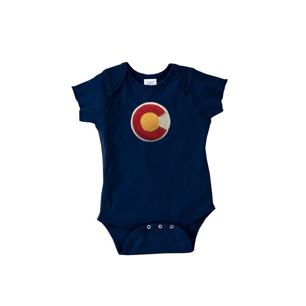 Colorado themed gifts Colorado Onsie Bodysuit navy