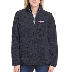 Ladies Colorado Jacket Colorado Sweater Sherpa Soft Colorado State Apparel Lds Black