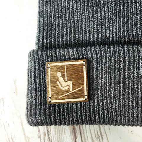 Ski Lift Sign Winter Beanie, Colorado Beanie Colorado Clothing Grey