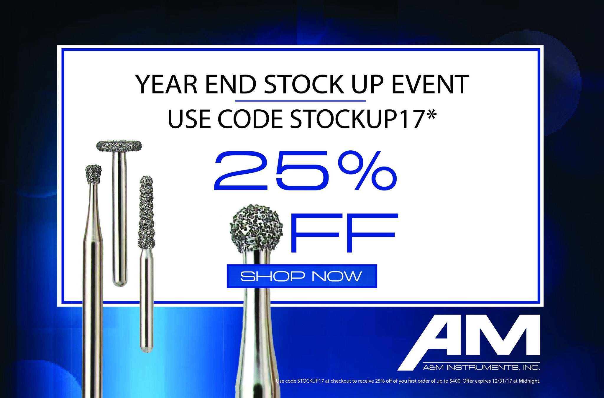 Save 25% on A&M Diamond and Carbide Dental Burs