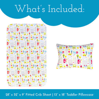 Cars Fitted Crib Sheet & Toddler Pillowcase Set | Microfiber