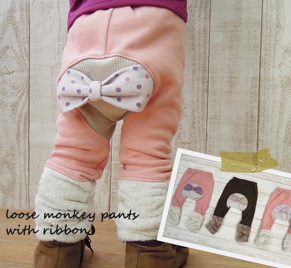 Monkey Pants 4134 - Brown, Pink with Bow