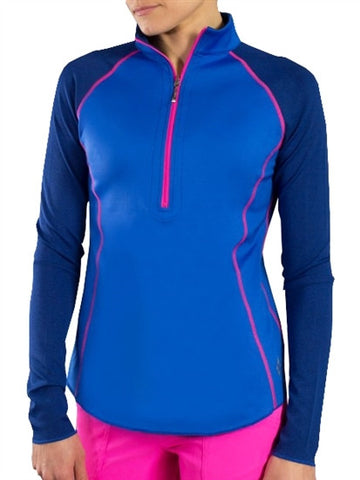 Womens Jo FIt Reversible Long Sleeve Polo in Blue