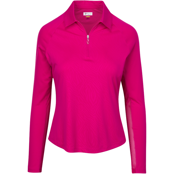 Womens Greg Norman Solar XP Embossed Print Long Sleeve Polo in Berry