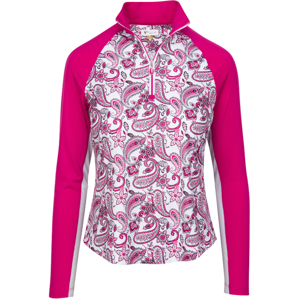 Womens Greg Norman Solar XP Paisley Print Long Sleeve Polo in Berry