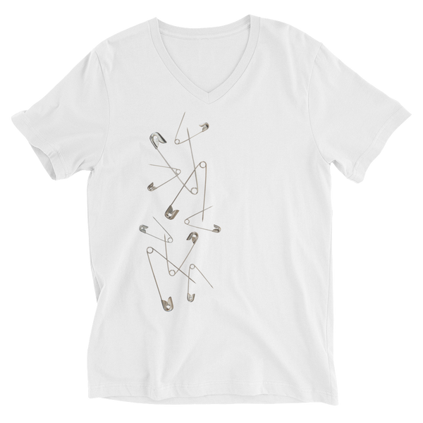 """Punk Pins"" Unisex Short Sleeve V-Neck T-Shirt"