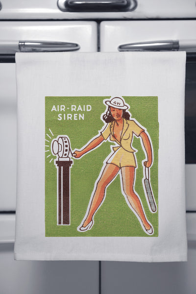 """Air Raid"" Cotton Dishtowel"