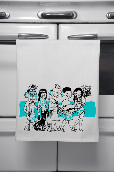 """Luau Party"" Cotton Dishtowel"