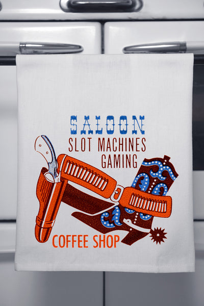 """Saloon Coffee Shop"" Cotton Dishtowel"