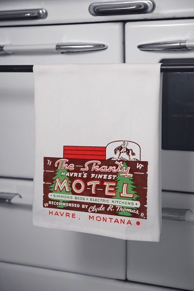 """The Shanty Motel"" Cotton Dishtowel"