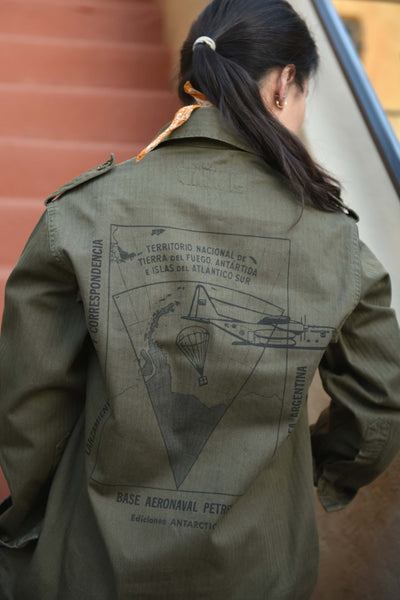 """Argentine Polar"" Custom Printed Vintage Military Field Jacket"