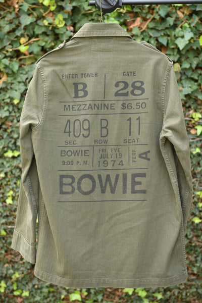 """David Bowie"" Custom Printed Vintage Military Field Jacket"