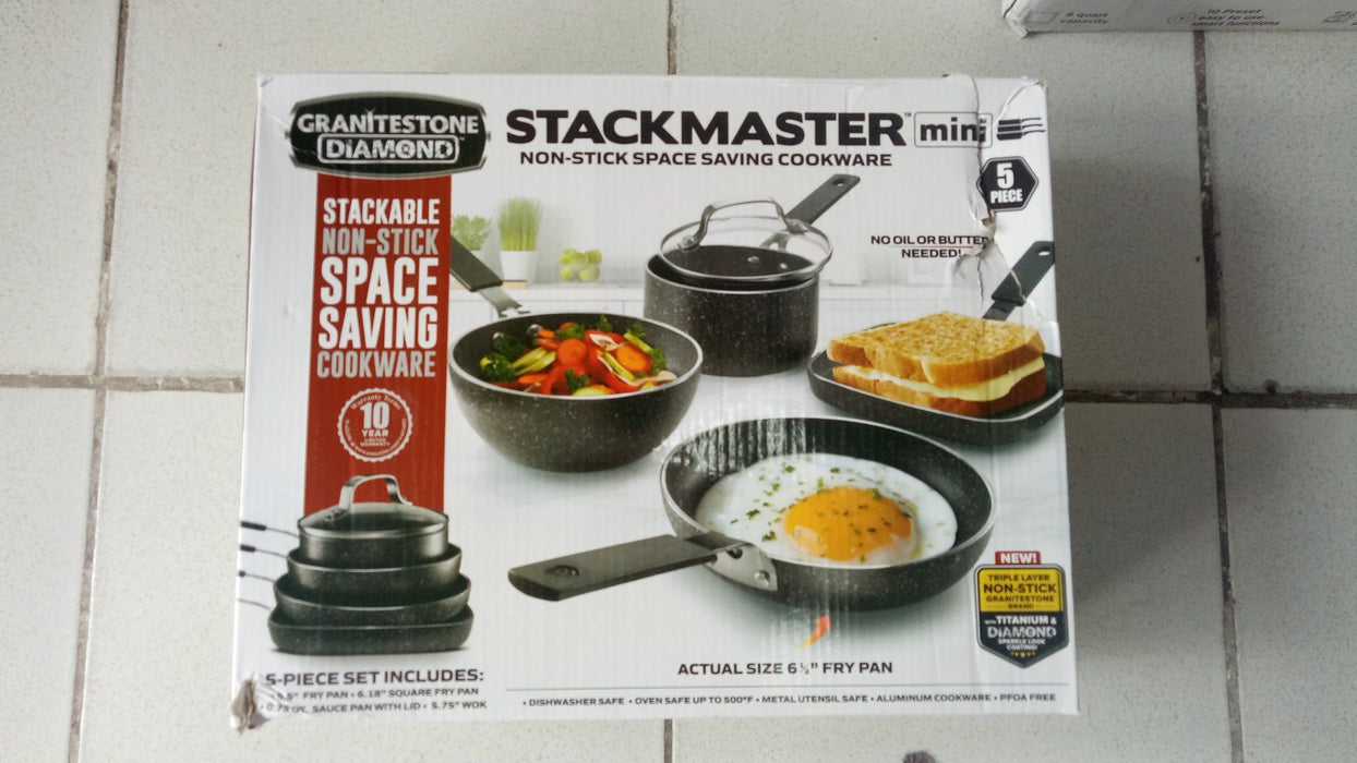 GRANITESTONE Stackmaster 5 Piece Mini Set, Nonstick Cookware Set, Scratch-Resistant, Granite-coated Anodized Aluminum, Dishwasher-Safe