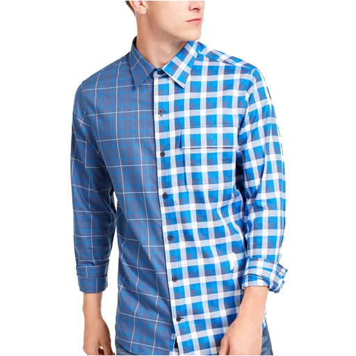 DKNY Men's Double-Plaid Shirt-Apparel-DKNY-Medium-Dark Denim-eshopping