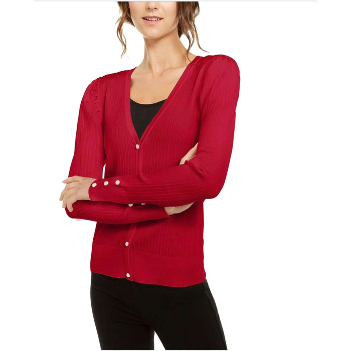 INC Petite Puff-Sleeve Cardigan-Apparel-INC International Concepts-Petite Small-Real Red-eshopping