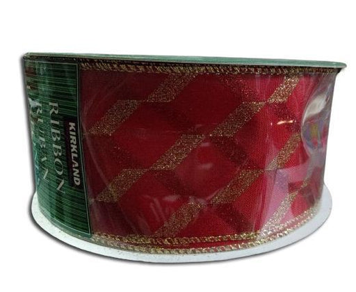 Kirkland Wire Edged Ribbon with Gold Glitter on Red 50 yards 2.5 inch-ribbon-Kirkland-eshopping