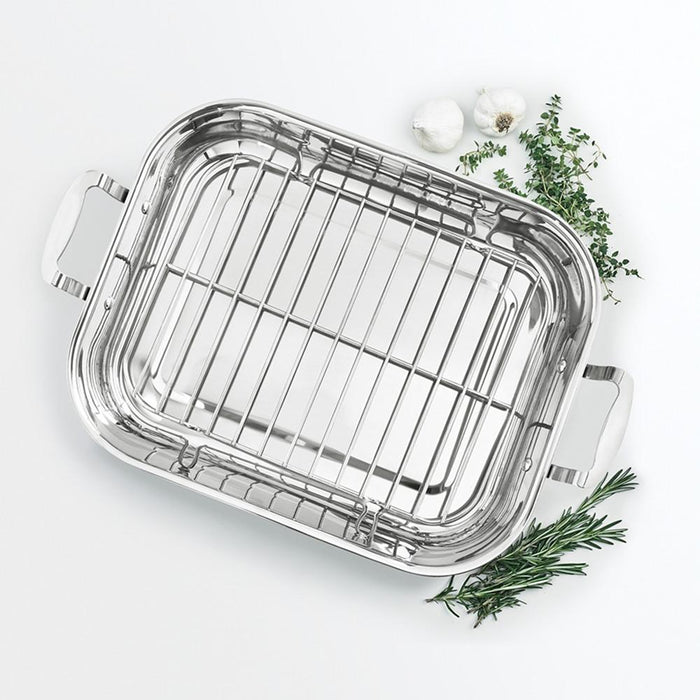 Martha Stewart Rectangular Roaster Riveted Handle Rack 23 lb Stainless Steel New-Cookware-Macy's-eshopping