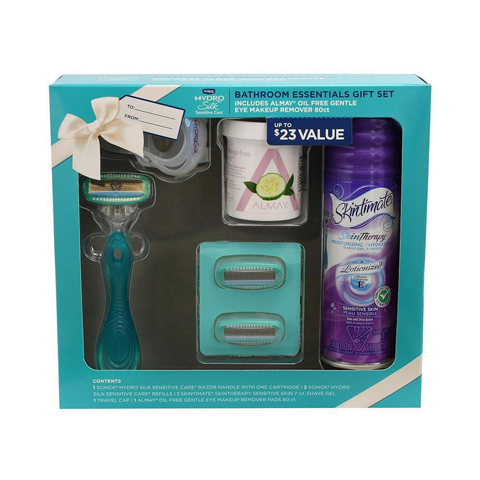 Schick Hydro Silk Bathroom Essentials Holiday Gift Set including 1 Razor, 2 Razor Blades, 1 Travel Cap, 1 Shave Gel, and Almay Makeup Remover Pads-Razor-Schick-eshopping