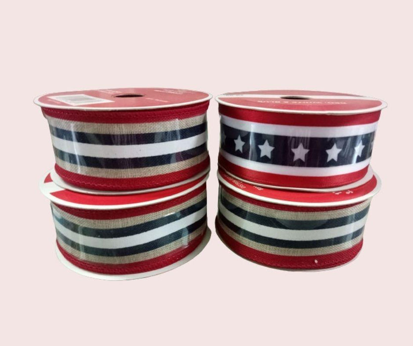 Stars & Stripes Wired Edge Ribbon - (Canvas, Red, White, Navy Blue) - 25 feet-Decorations-Eshopping Philippines-eshopping