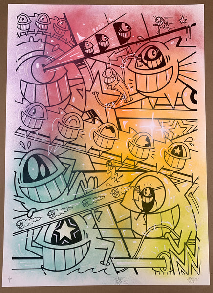 "El Pez ""Happy Pop"" Print (Hand Finished w/Outline) #2"