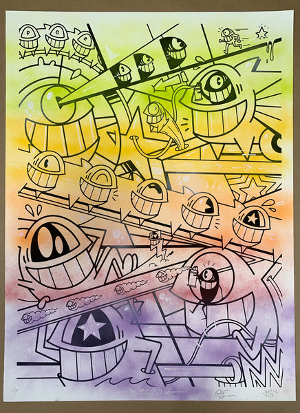 "El Pez ""Happy Pop"" Print (Hand Finished w/Outline) #4"