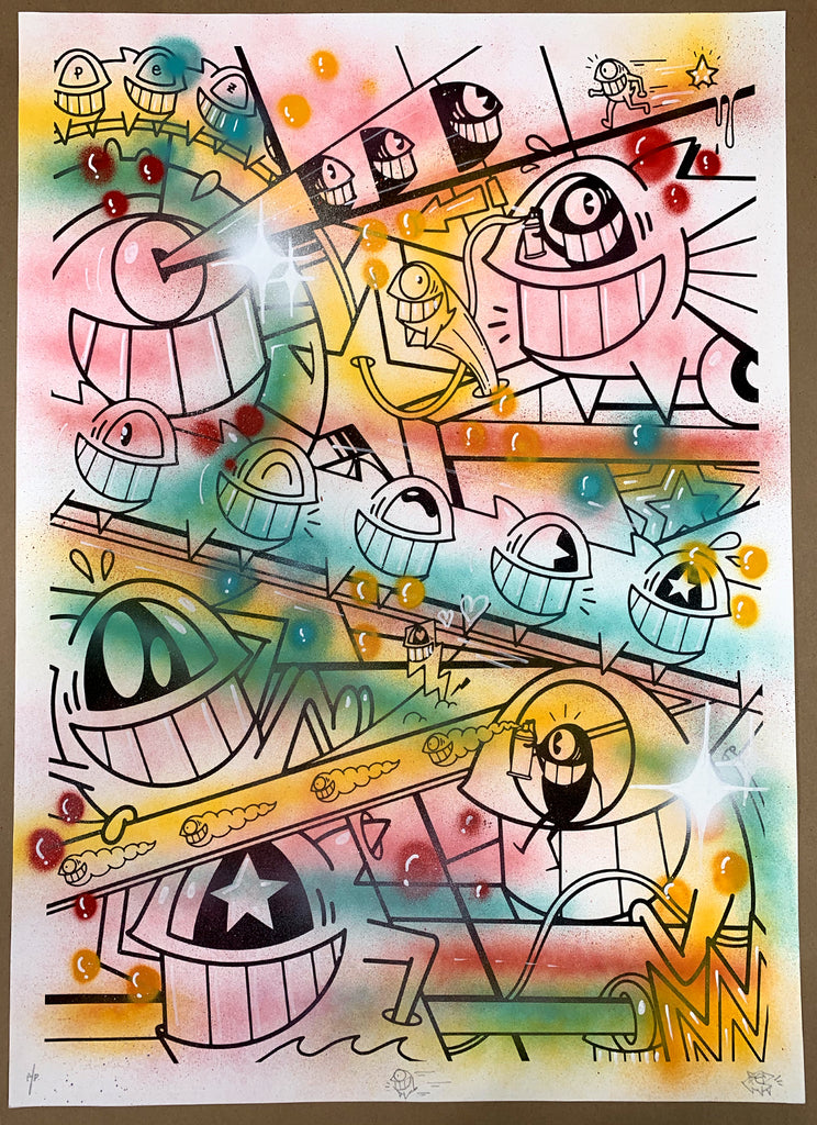 "El Pez ""Happy Pop"" Print (Hand Finished w/Outline) Artist Proof"