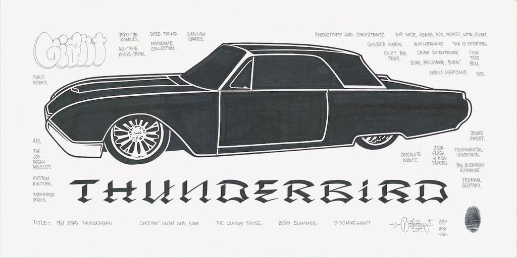 "Mike Giant - ""61 Ford Thunderbird"" Drawing"