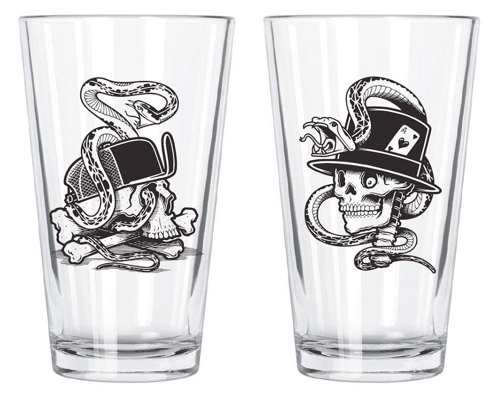 Mike Giant Dead Gambler & Dead Skater Pint Glass Set
