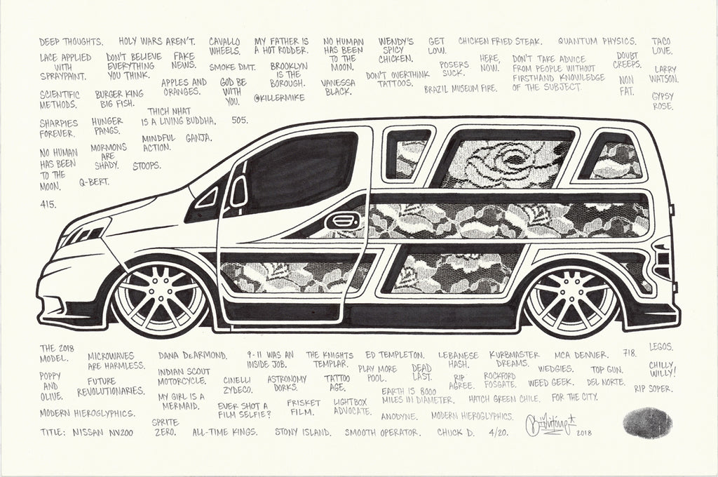 "Mike Giant ""Nissan NV200"" Drawing"