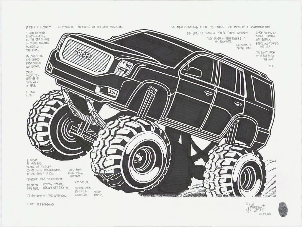 "Mike Giant - ""Off Roading"" Drawing"