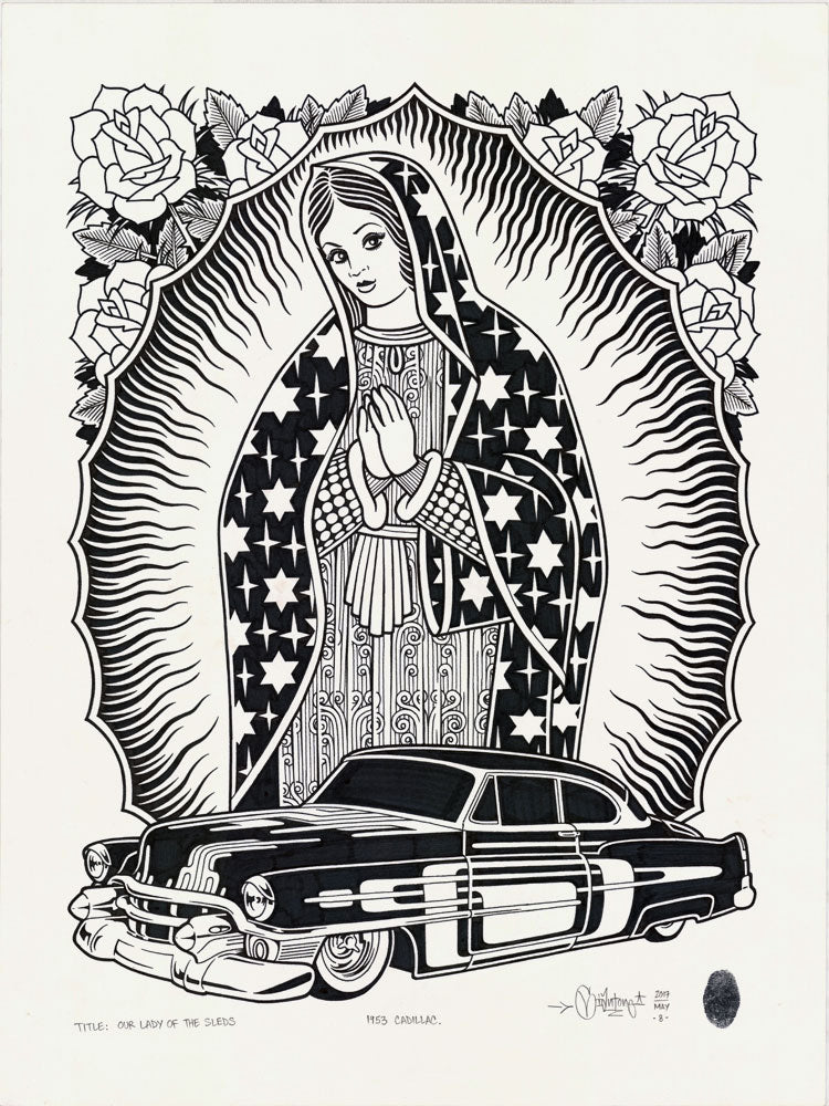"Mike Giant - ""Our Lady Of The Sleds"" Drawing"