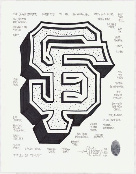 "Mike Giant - ""SF Pendant"" Drawing"