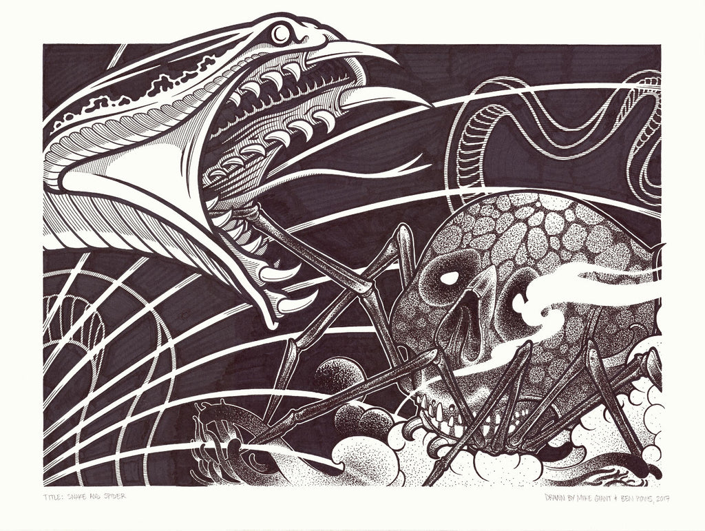 "Mike Giant & Ben Pows - ""Snake and Skull"" Drawing"