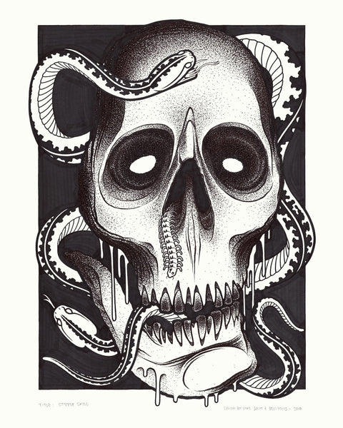 "Mike Giant & Ben Pows - ""Stipple Skull"" Drawing"