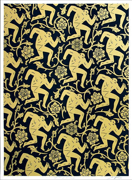 Cleon Peterson Shepard Fairey - Pattern of Corruption Gold and Black