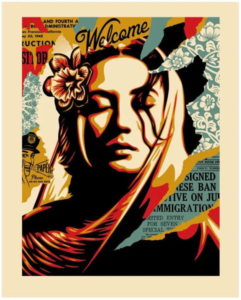 "Shepard Fairey ""Welcome Visitors"" Letterpress"