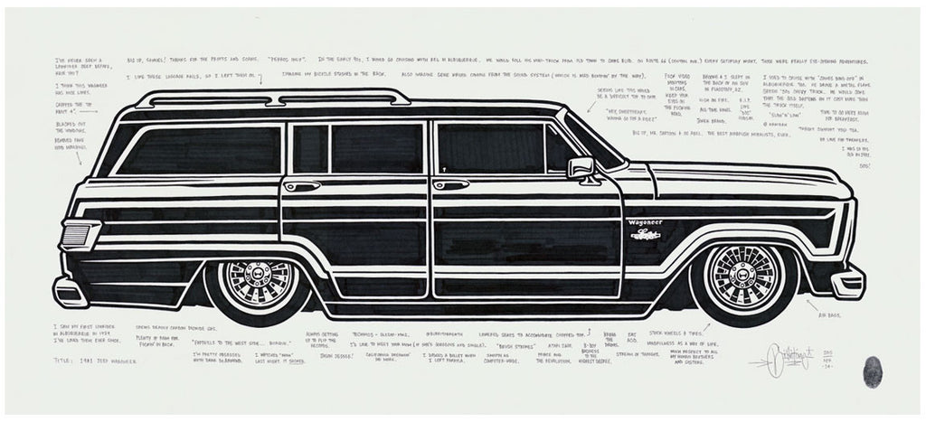 "Mike Giant ""1981 Jeep Wagoneer"" Original Drawing"