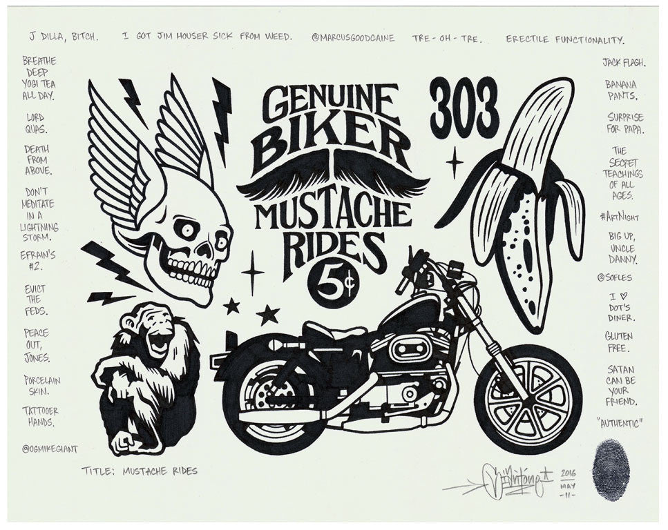 "Mike Giant - ""Mustache Rides"" Drawing"