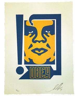 "Shepard Fairey ""Mustard & Navy Arrow"" Letterpress"